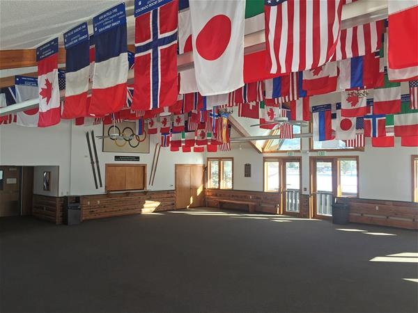 Image of international flags hanging from ceiling