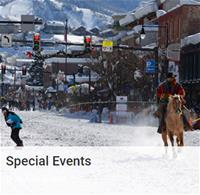 Special Events text with image of horserider on snowy street pulling a skier