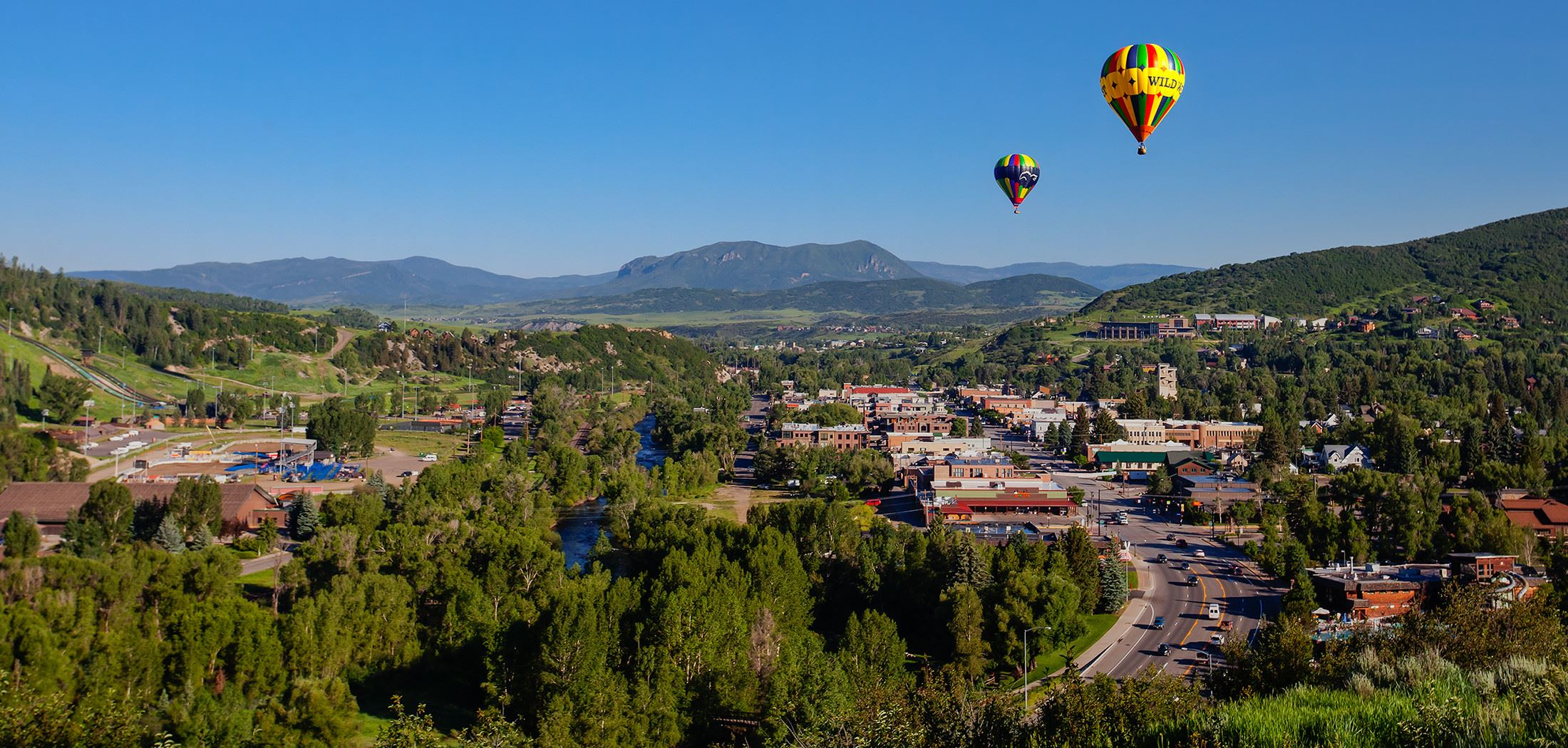 Hot Air Balloons float over downtown Steamboat Springs
