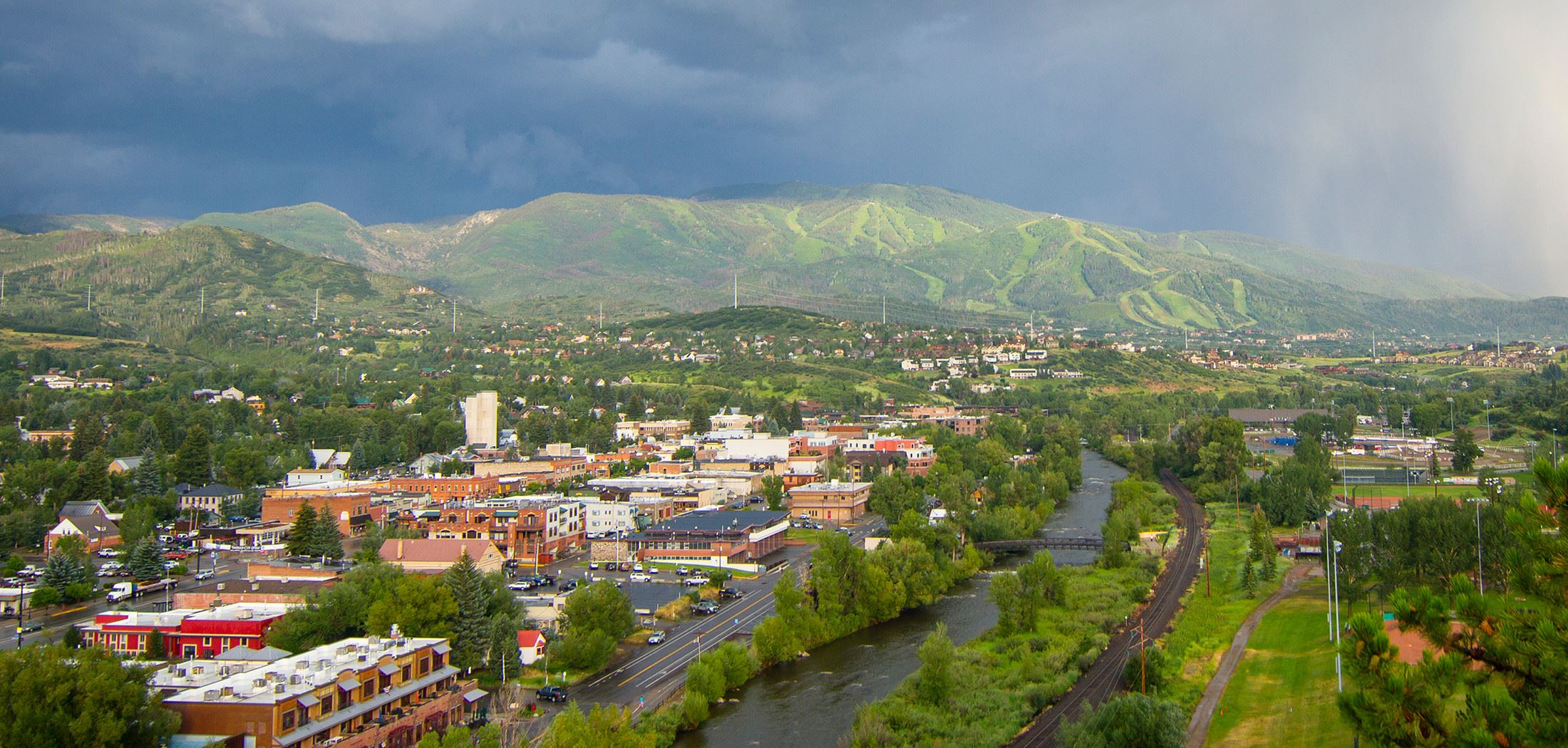 Downtown Steamboat Springs with Mt. Werner in distance